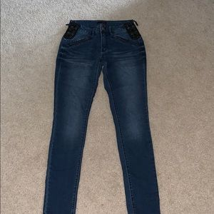 Skinny Jeans with Leather Tie Accent